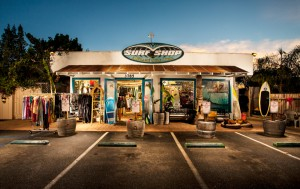 The A Frame Surf Shop on Santa Clause Lane in Carpinteria CA
