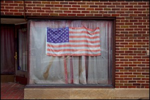 American Flag In Shop Window - Chicago, IL