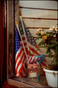 JP1205 Flag In Shop Window - Chicago IL
