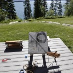 Spiral Shadows  set with Flathead Lake in background