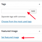 Enter Tags and click featured image
